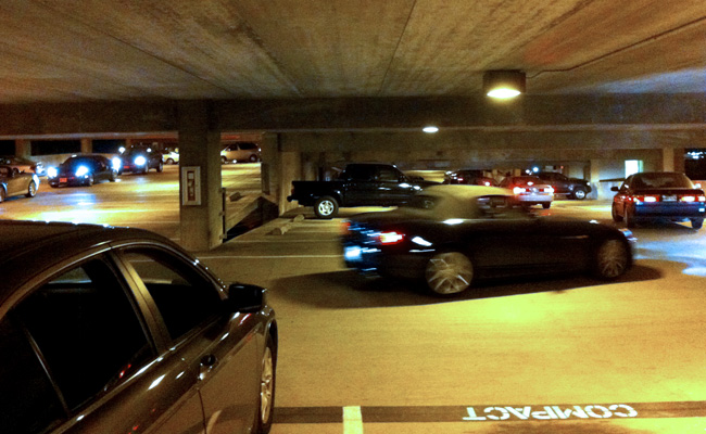 Cars leaving the Dole parking structure.