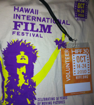 Shirt and badge issued to HIFF volunteers