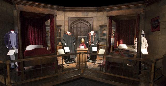 Harry and Ron's room at Hogwarts, along with the golden egg from Goblet of Fire.