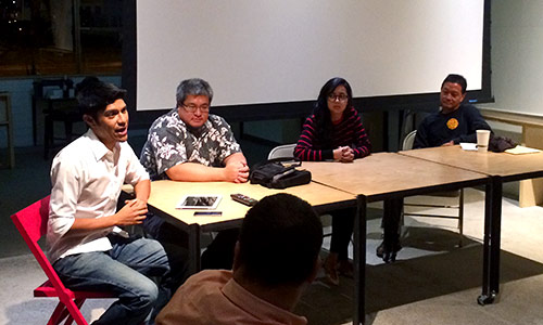 Friday night's panel of Ben Trevino, Jared Kuroiwa, Jackie Perreira, and Burt Lum.