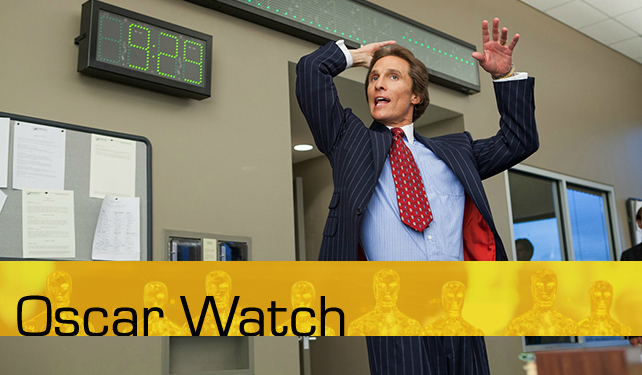 Oscar Watch looks to break down the different categories for the 2014 Academy Awards. We'll do our best to give you the inside track for your Oscar pools. Above: Chest thumping McConaughey from The Wolf of Wall Street.