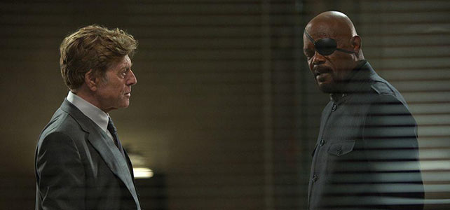 Robert Redford and Samuel L. Jackson debating the merits of foreign policy in The Winter Soldier.
