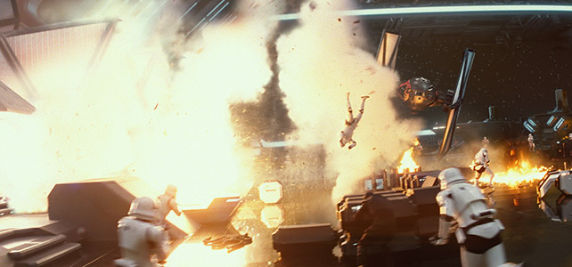 A tie fighter shooting up an Imperial hanger--you can feel JJ's presence with both the look of the shot and how everything is framed.